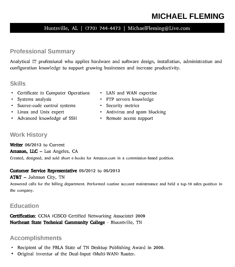 resume michael david fleming